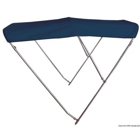 Bimini, 3-ramenné, modrá plachta, nerez - typ 170 - výška 140 cm, délka 200 cm
