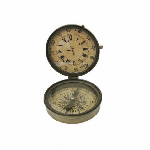 Kompas+hodiny antická mosaz, prům.8cm