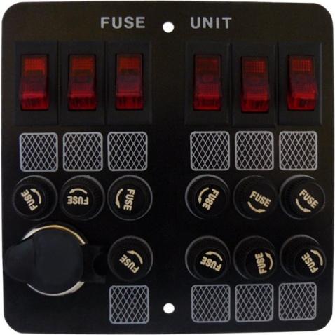 Panel vypínačů - 6 vedle sebe s pojistkami + zásuvka zapalovač