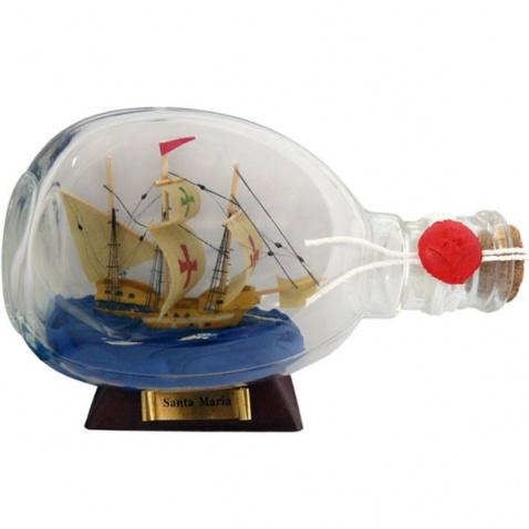 Model lodi v láhvi - plachetnice SANTA MARIA,délka 15cm