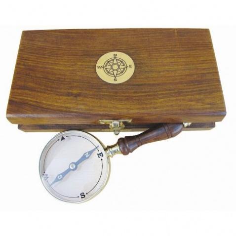 Kompas ke čtení map v dřevěné krabičce