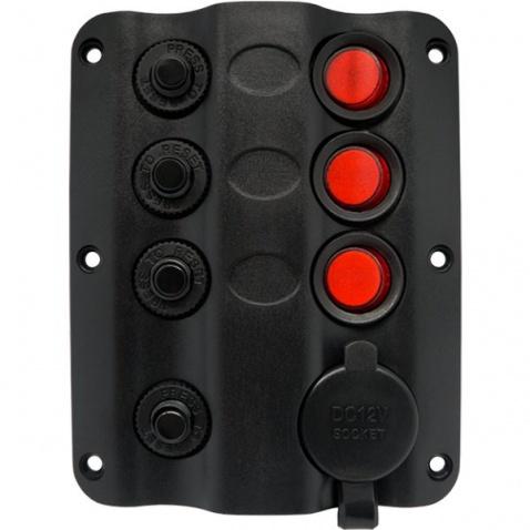 Panel vypínačů - 3 pod sebou + zásuvka zapalovač