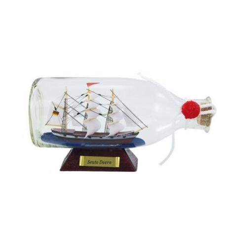 Model lodi v láhvi - plachetnice SEUTE DEERN 16x8x6cm