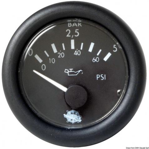 Ukazatel tlaku oleje 12V 0-5bar, černý