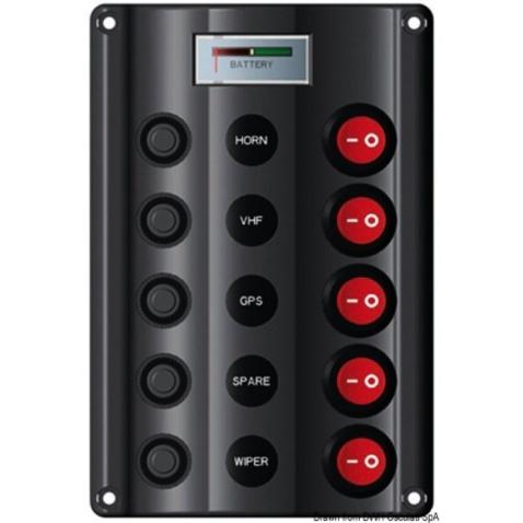 Panel vypínačů - 5 s voltmetrem, 160x107mm