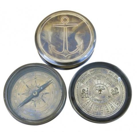 Kompas + věčný kalendář, antická mosaz,prům.7,5cm