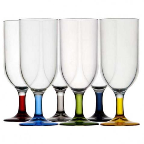 Sklenice na šampaňské, barevné-sada 6ks