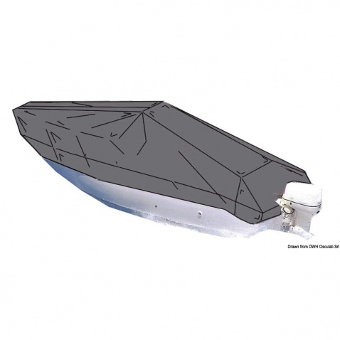 Persenik na člun délky 6x2,4m,  šedý, délka 6,3/6,8 m, šířka max 2,4 m/3,7m, závěsný motor