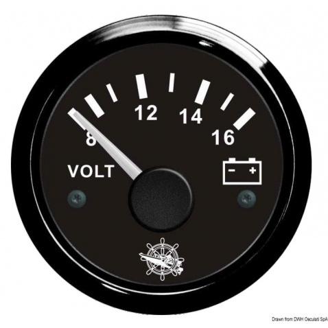 Voltmetr, 8-16V, černý