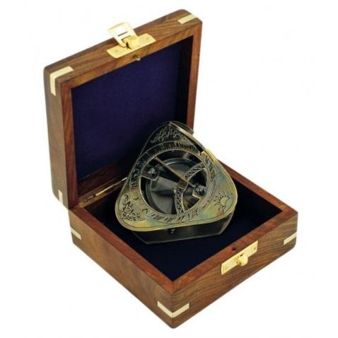 Kompas-sluneční hodiny v dřevěné krabičce, antická mosaz, 8x8x6,5cm