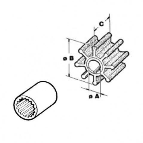 Impeller 500114T, Johnson, Yamnam, Mercruiser, Vetus