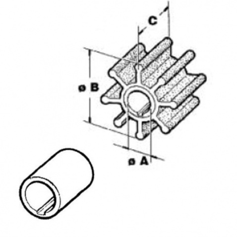 Impeller 500377, Mercury 2.5,3,3,4,5,6-2t,4tTohatsu 4,5,6