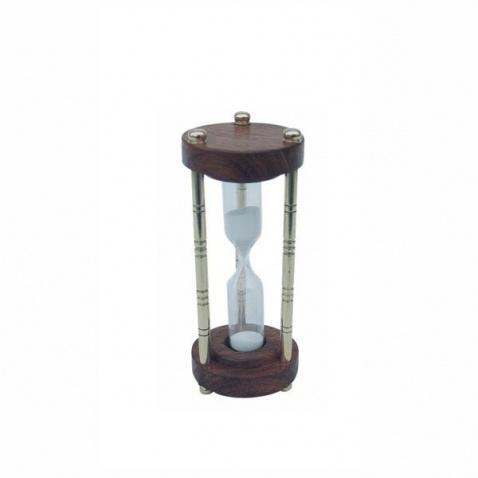 Hodiny přesýpací 3min.,mosaz/dřevo,v.10,5cm,pr.4cm