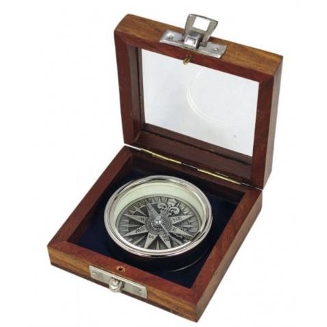 Kompas s 3D růžicí v dřevěné krabičce, chrom, pr. 5,5cm, v.1,4cm