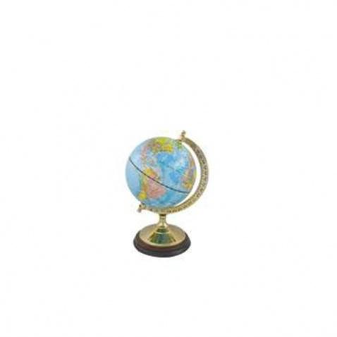 Globus prům.12,5cm,výška 22,5cm mosaz/dřevo light blue