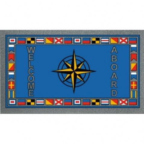 Koberec modrý, 40x68cm, vzor vlajky+růžice