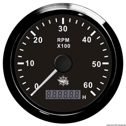 Otáčkoměr Osculati 0-4000 rpm, černý