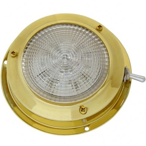 Světlo kajutové, LED , zlaté - průměr 11cm , s páčkovým vypínačem