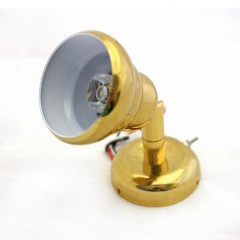 Světlo na přišr. LED s čočkou, zlaté,d.11cm